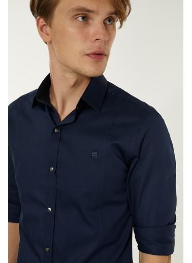 Avva Erkek  Düz Klasik Yaka Slim Gömlek B002217 Lacivert